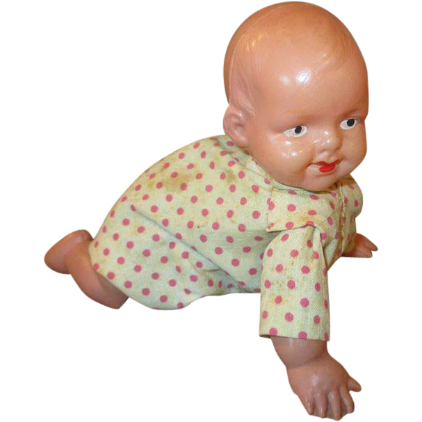 Baby doll png. Vintage wind up celluloid