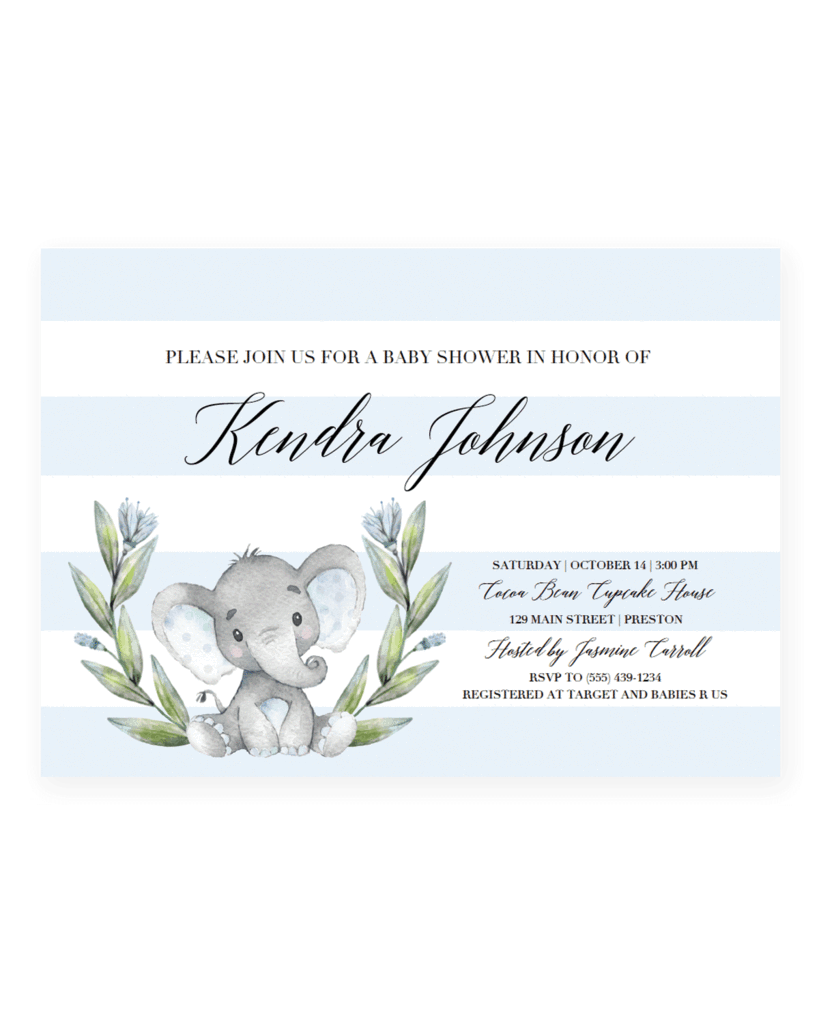 Baby elephant baby shower png. Invitation template boy invite