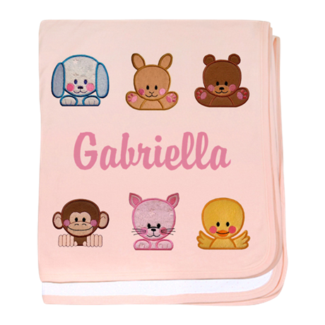 Baby girl blanket png. Personalised sweet round animals