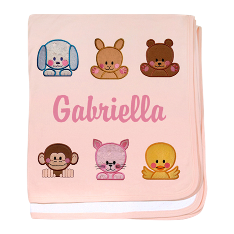 Personalised sweet round animals. Baby girl blanket png jpg transparent