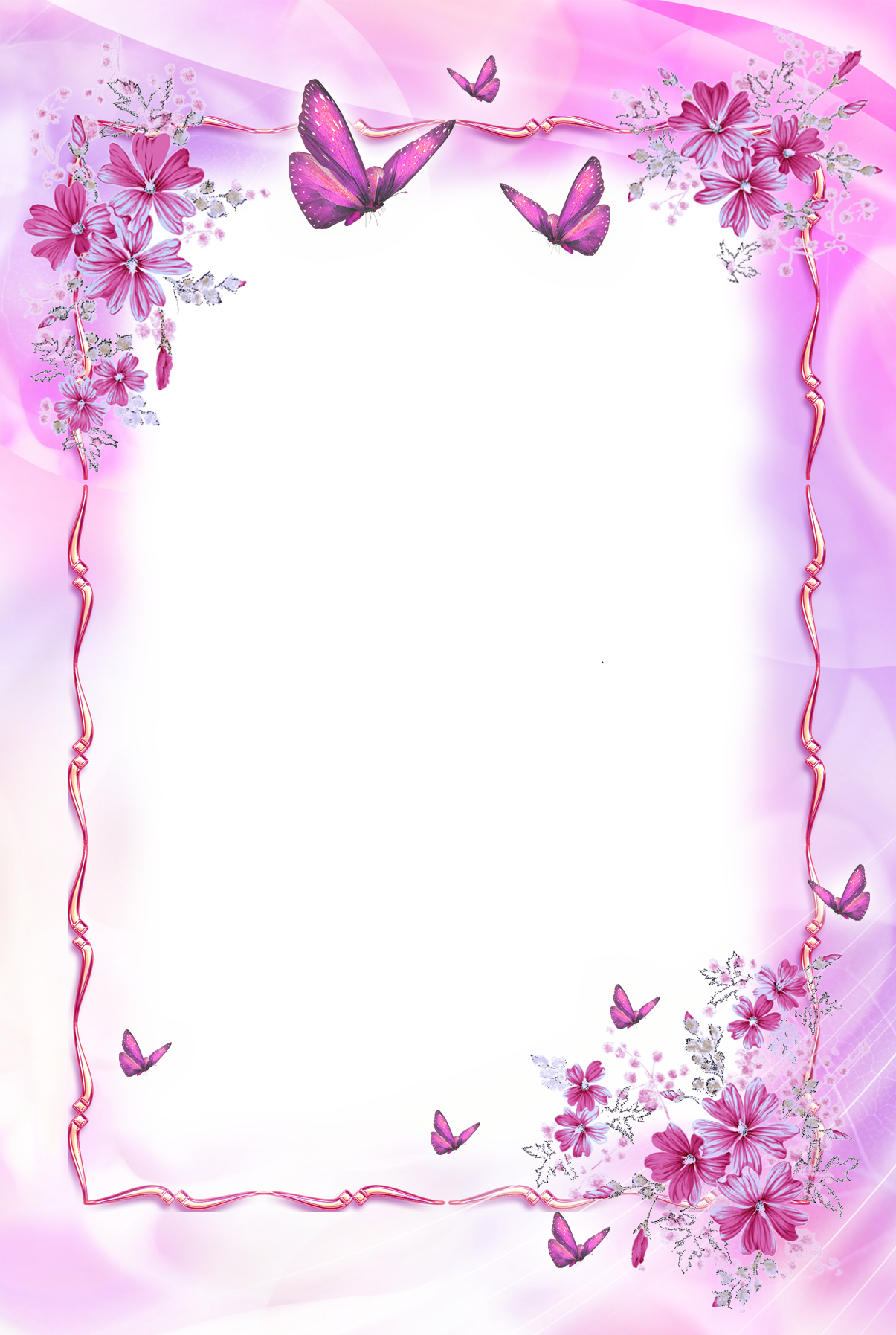 Baby girl frame png. Pink transparent with butterflies