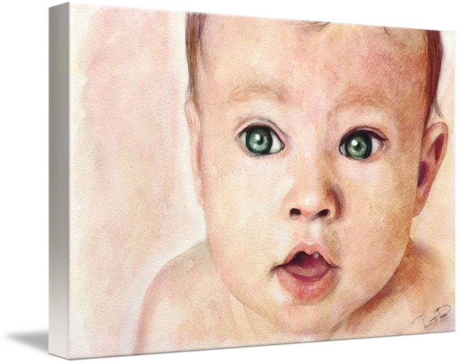 Baby rage png. Watercolour portrait painting by