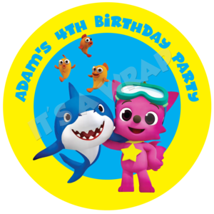 Baby shark clipart character. Party box stickers partywraps