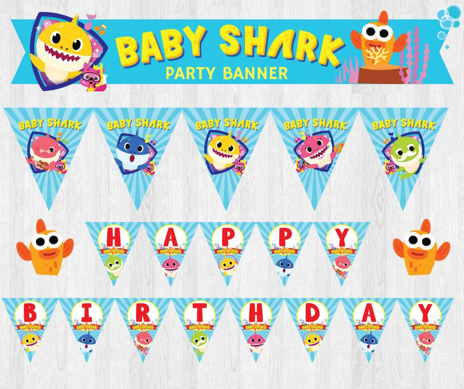Baby shark png banner. Under the sea pinkfong