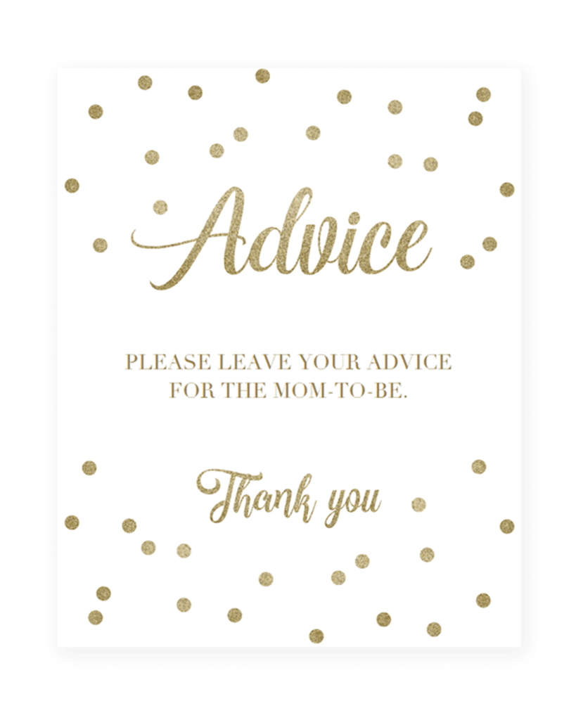 Baby shower text png. Gold confetti advice sign