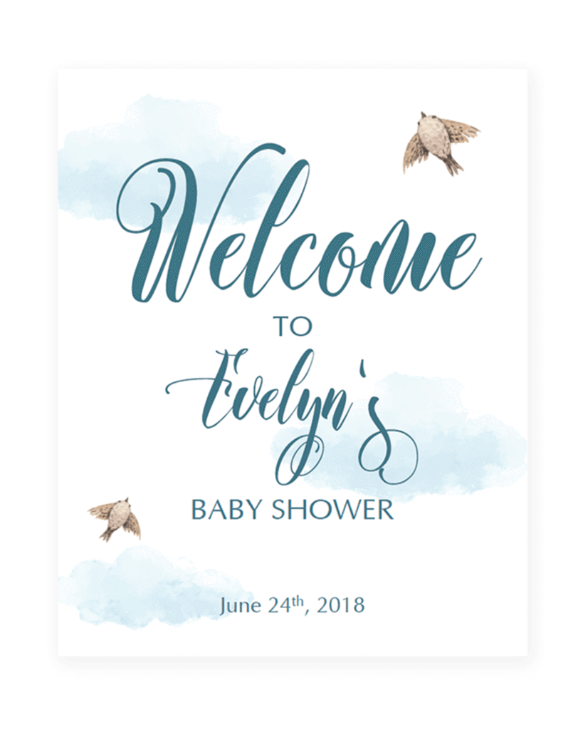 Baby shower text png. Printable welcome sign with