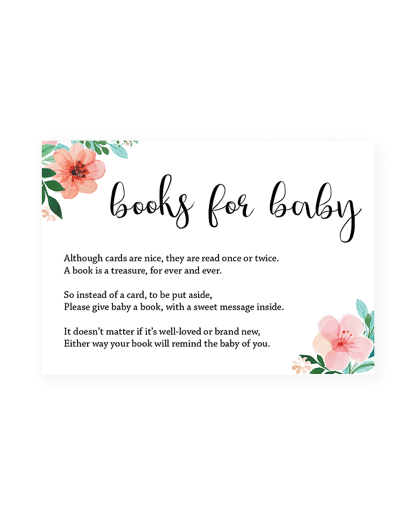 Baby shower text png. Floral books for template