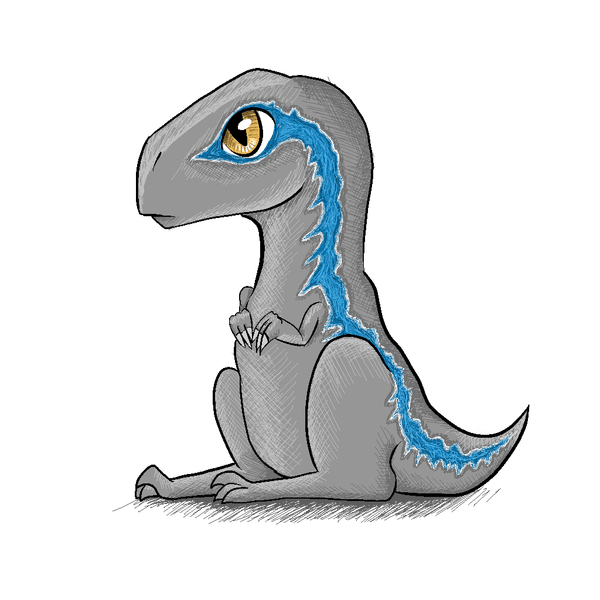 Velociraptor transparent drawing. Blue line drawings