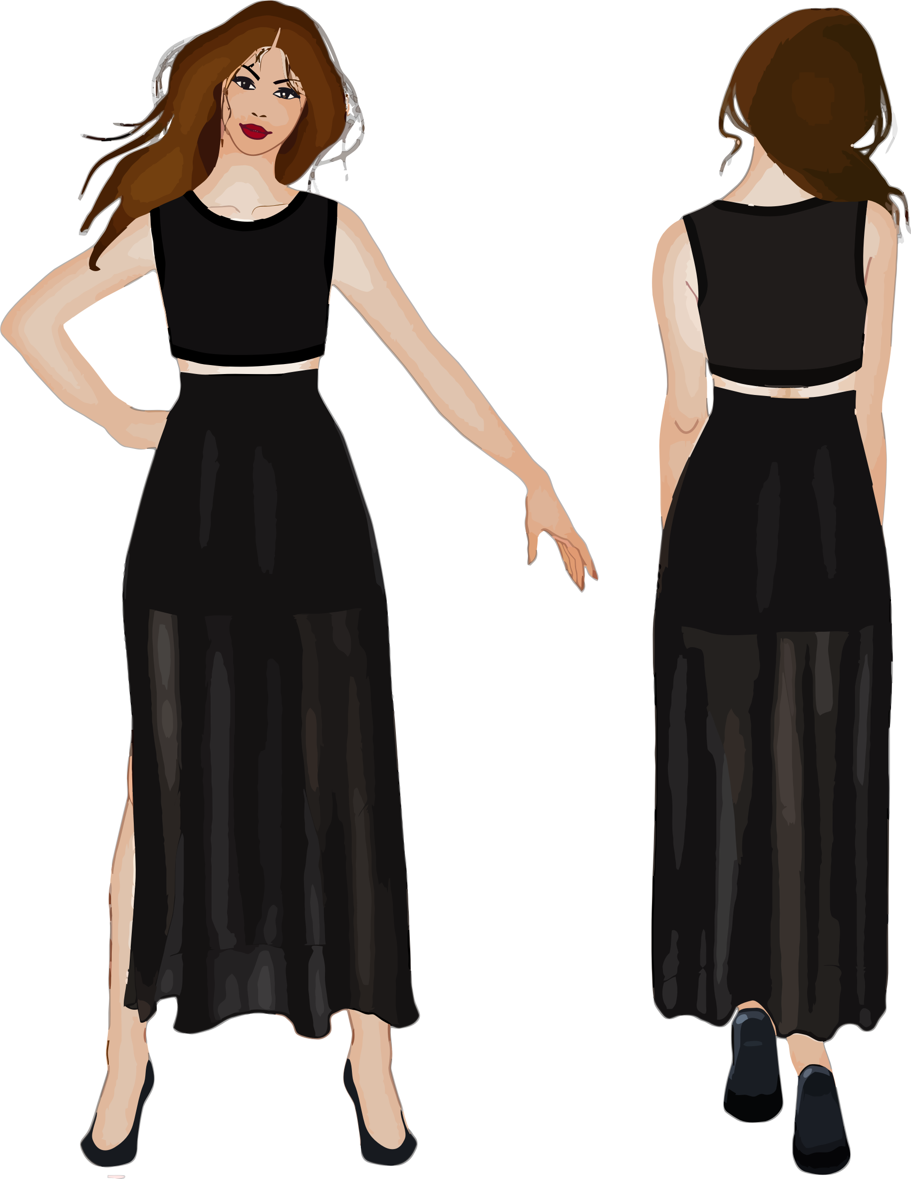 Front and view woman. Back clipart back side image free stock
