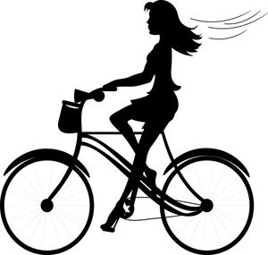 Girl image silhouette of. Cycle clipart rode graphic free