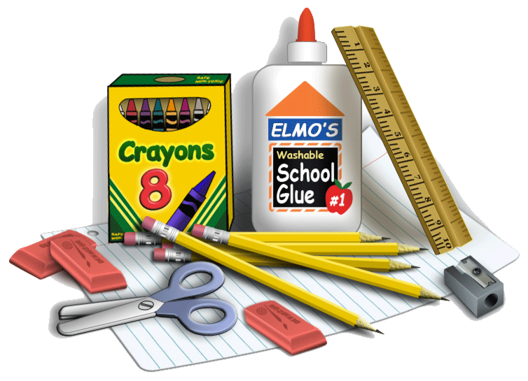 Back to school supplies png.