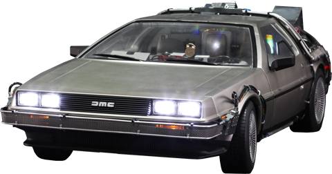 Back to the future car flying png. Delorean sixth scale figure