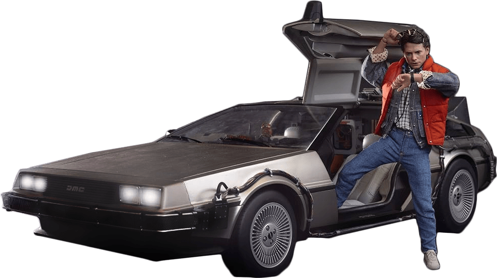 Back to the future png. Delorean marty transparent stickpng