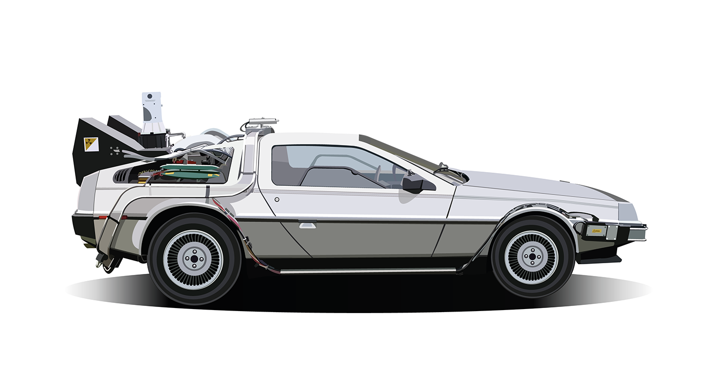 Back to the future car png. Vector illustration of delorean