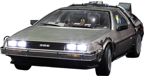 Delorean transparent. Front back to the