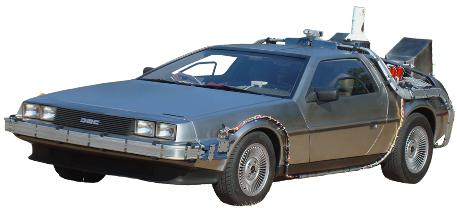 Back to the future car flying png