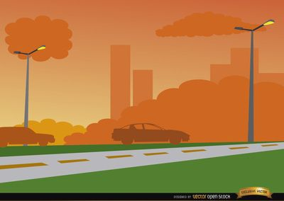 Background clipart road. Orange sunset on city