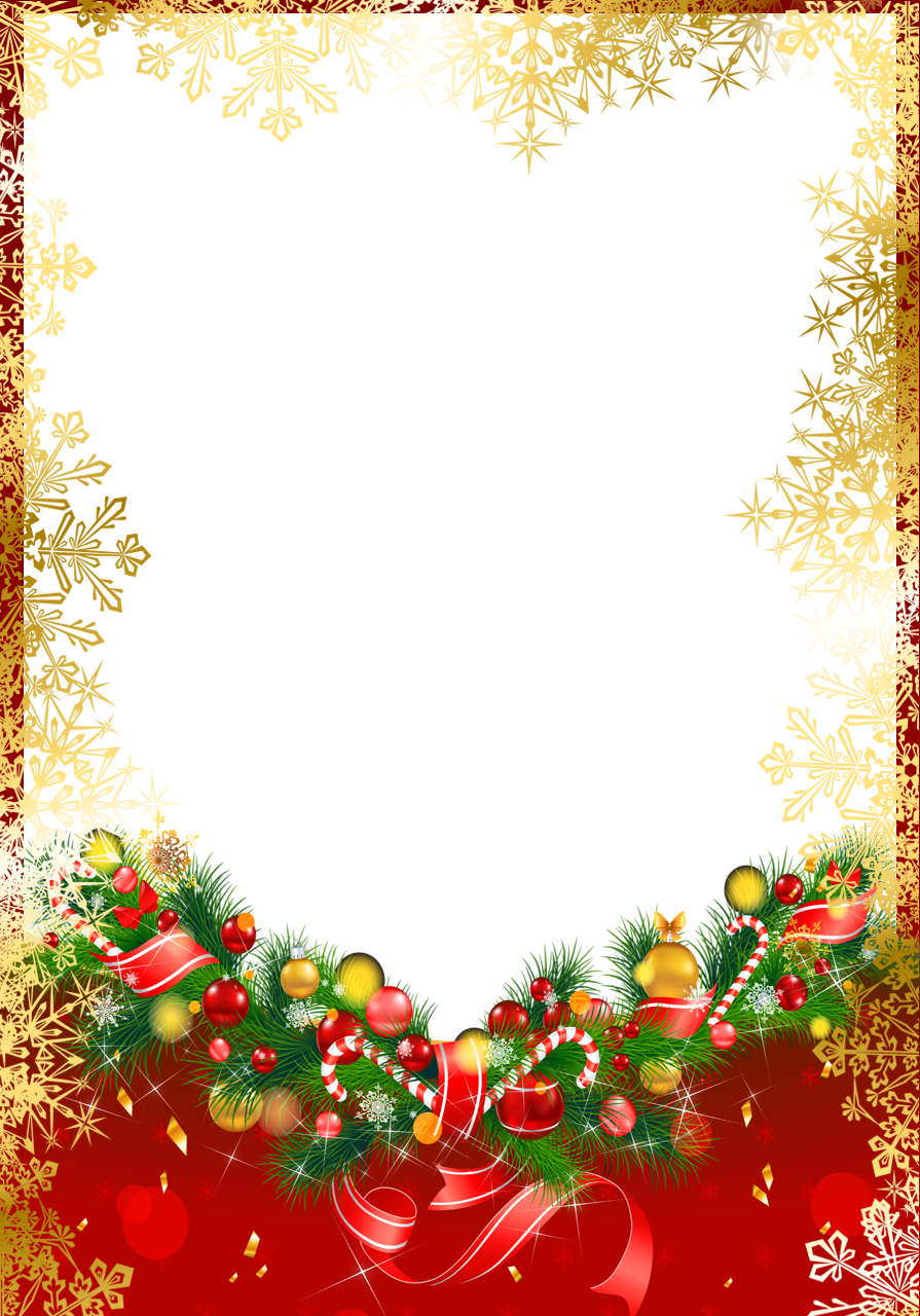 Transparent christmas png. Red frame with gold