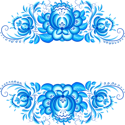 Vector flower design png. Elegant blue floral pattern