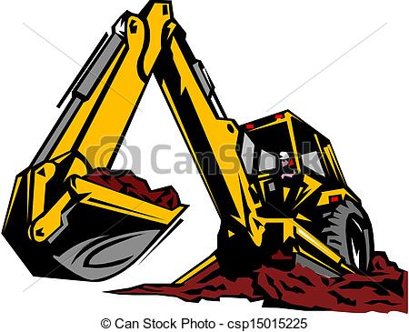 Backhoe clipart. Illustration of an excavator jpg freeuse library