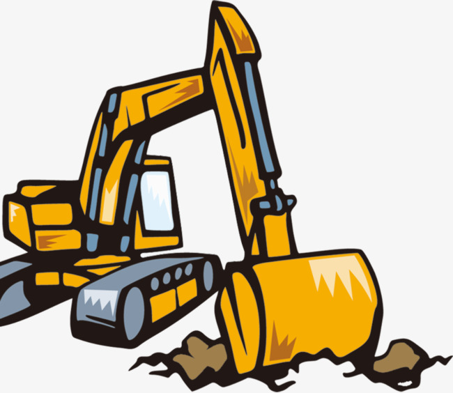 Backhoe clipart bulldozer. Cartoon excavator png image royalty free download
