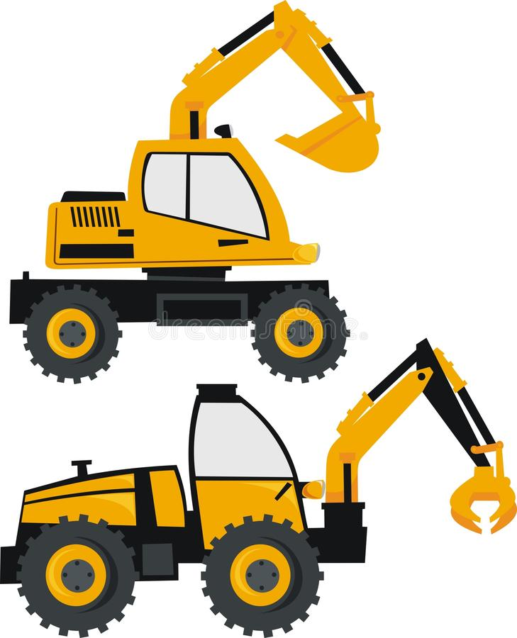 Excavator and loader stock. Backhoe clipart car graphic download
