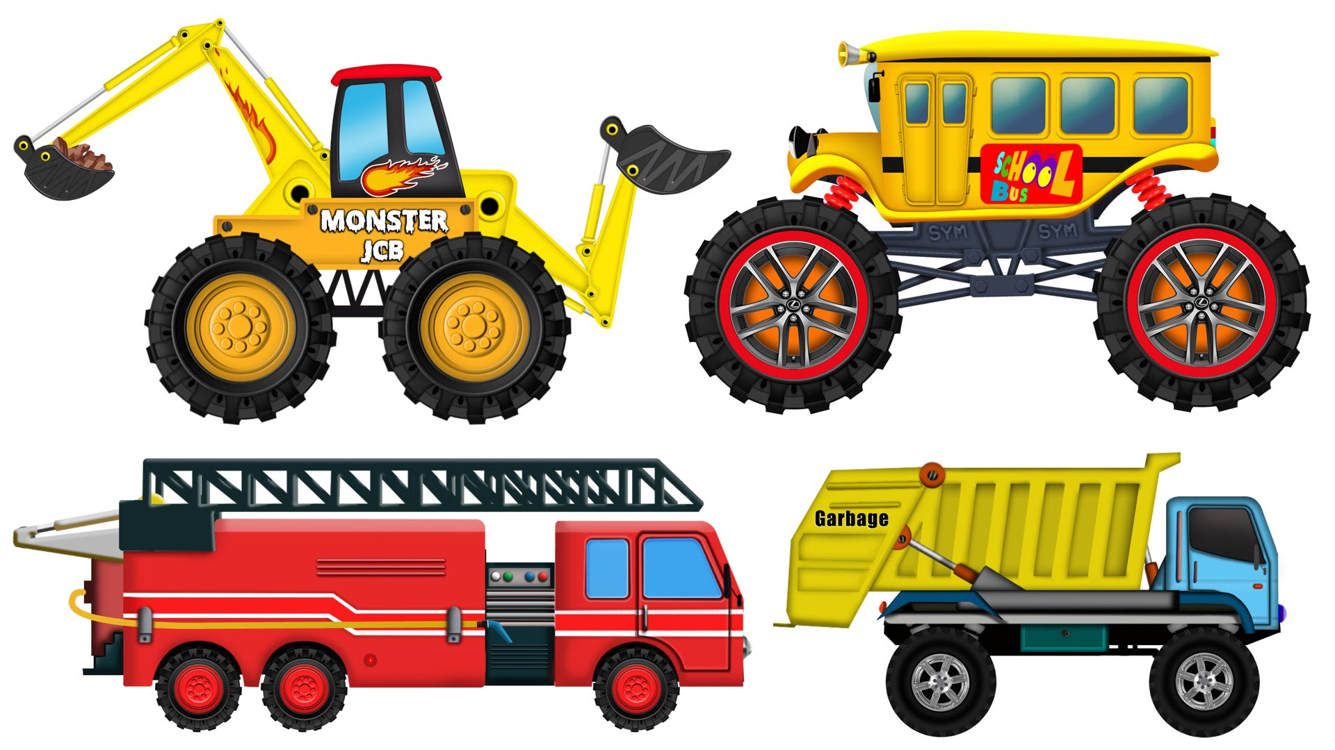 Ambulance garbage truck fire. Backhoe clipart car clip art library stock