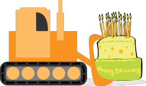 Bulldozer with cake . Backhoe clipart construction birthday banner black and white download