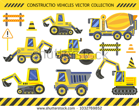 Big set vehicles collection. Backhoe clipart construction birthday clip library