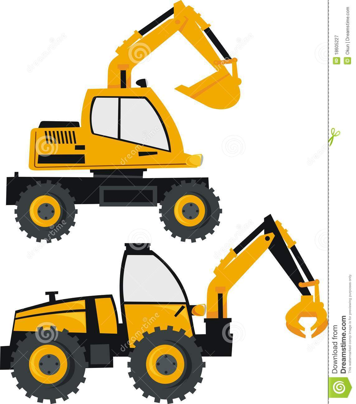Excavator and loader stock. Backhoe clipart construction equipment vector black and white download