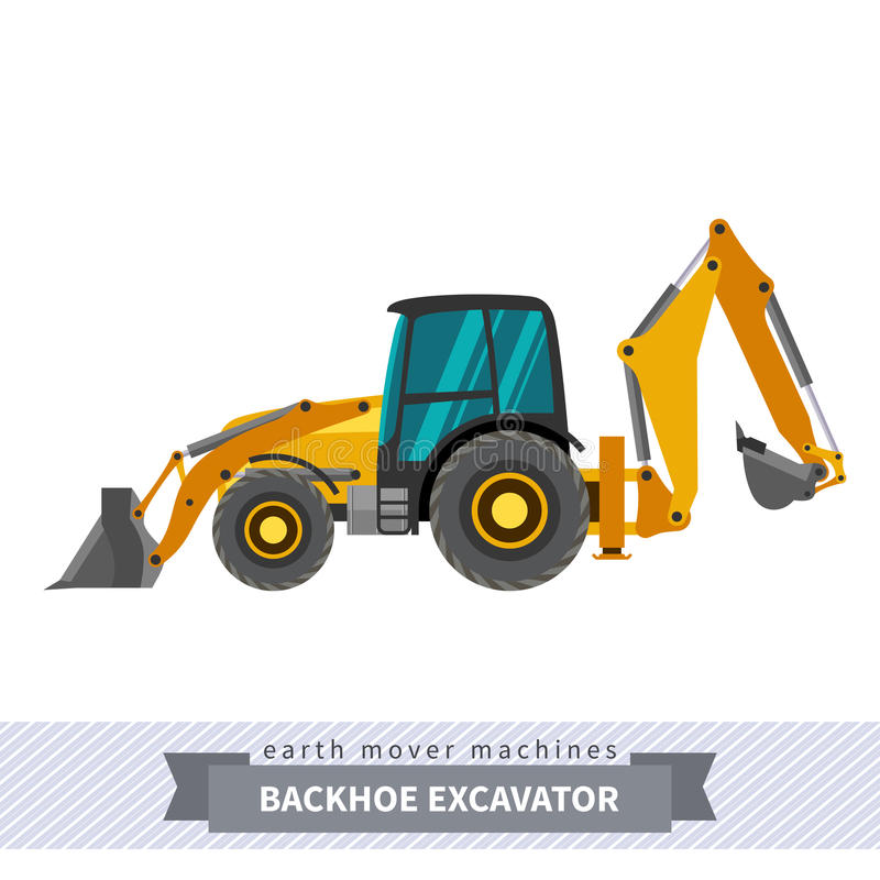 Excavator for earthwork operations. Backhoe clipart construction equipment svg black and white stock