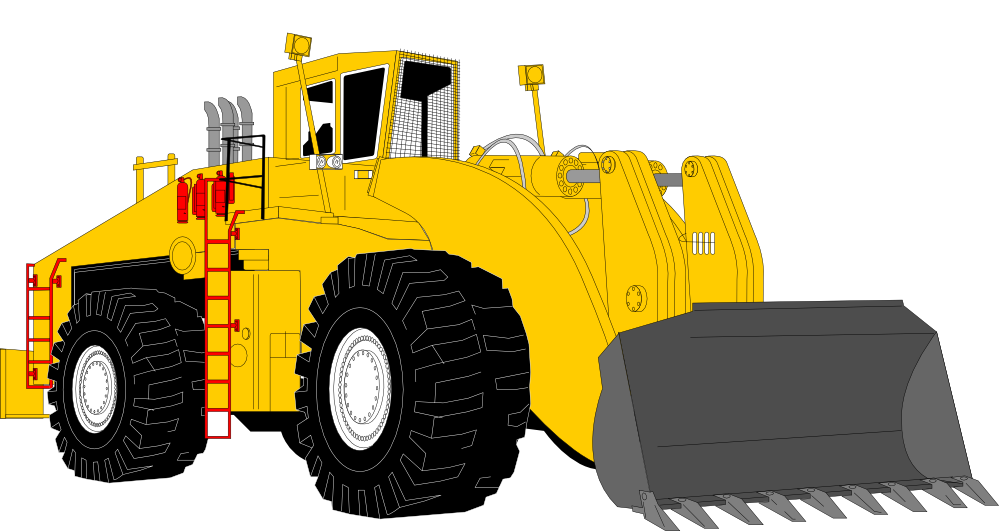 Backhoe clipart engineering equipment. Bulldozer drawing black and