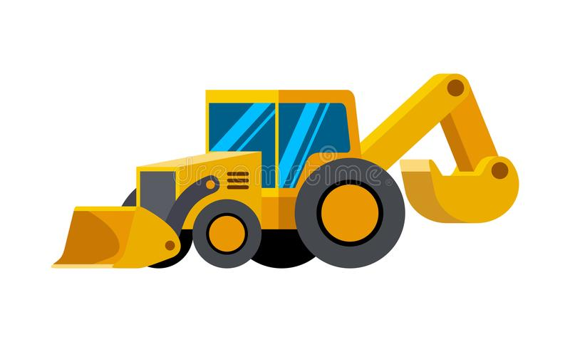 Loader excavator minimalistic icon. Backhoe clipart engineering equipment clip art black and white