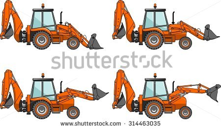 Detailed illustration loaders heavy. Backhoe clipart engineering equipment banner free stock