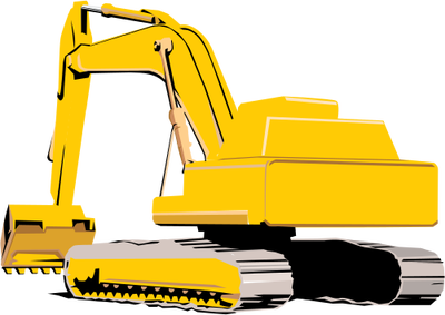 Backhoe clipart engineering equipment. Construction excavator illustration of