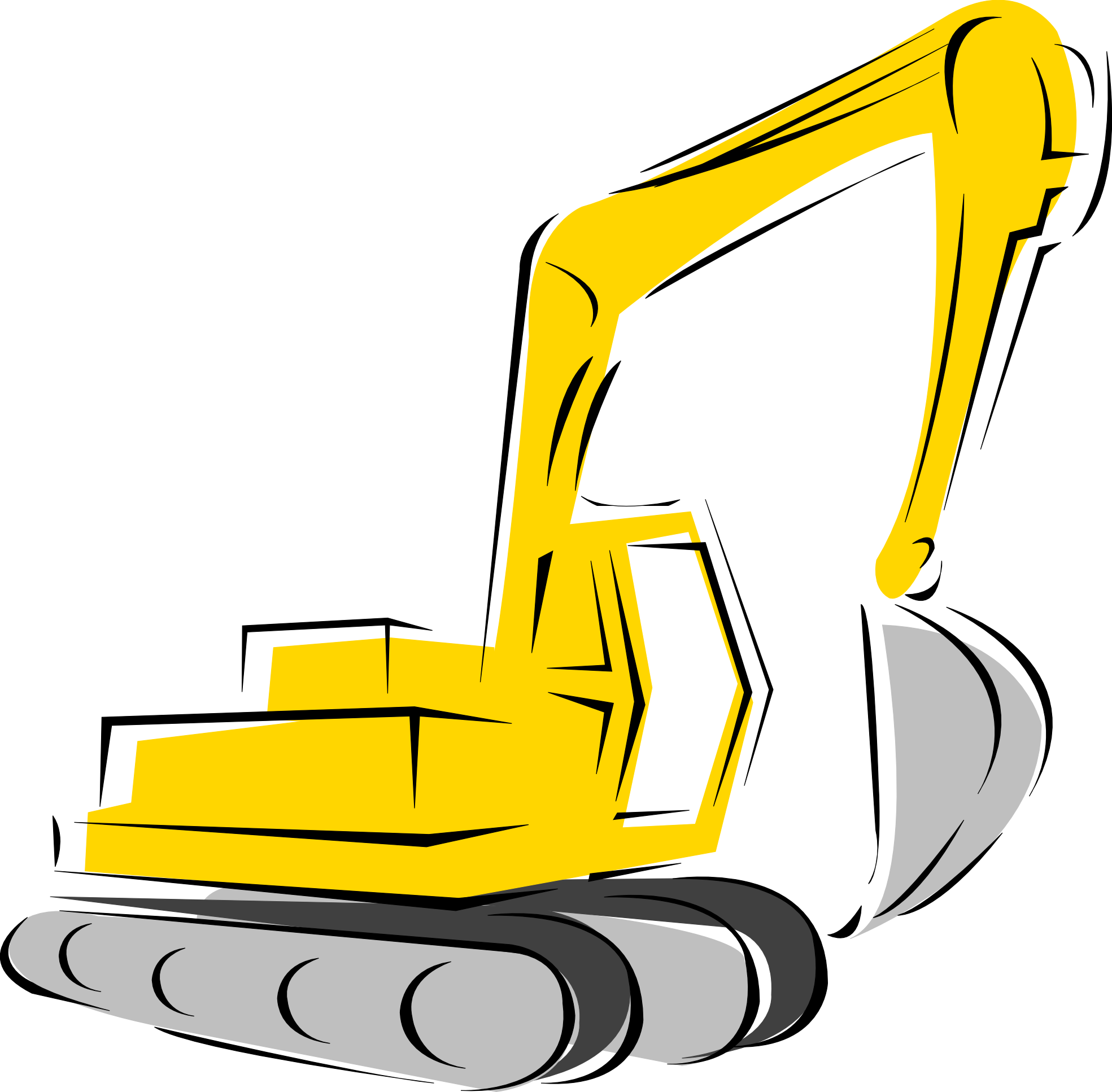 Silhouette at getdrawings com. Backhoe clipart excavator arm black and white