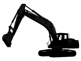 Backhoe clipart mini digger. Black and white excavator