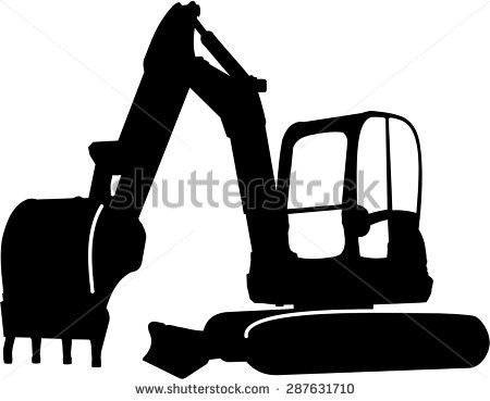 Backhoe clipart mini digger. Excavator sillhouette illustration stock black and white library