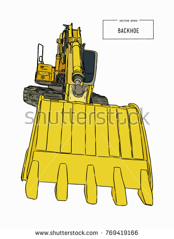 Backhoe clipart plant machinery. Yellow loader construction special clip library stock