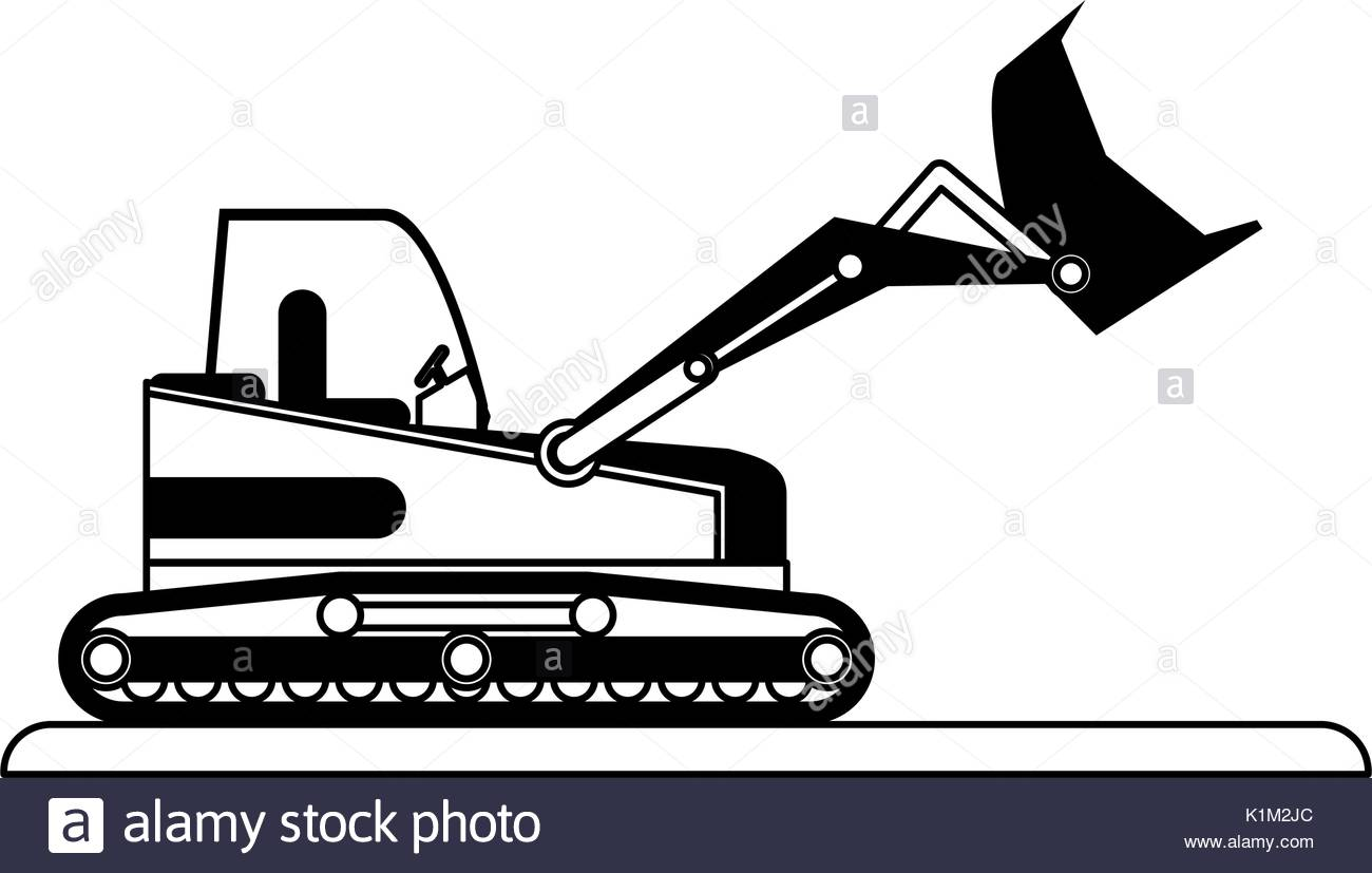 Black and white stock. Backhoe clipart plant machinery picture transparent library