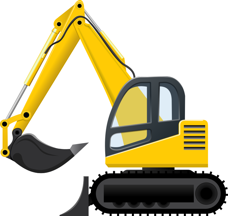 Backhoe vector demolition. Collection of free contracting