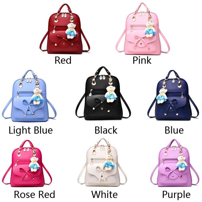 Backpack clipart blue purse. Casual multifunction bow knot
