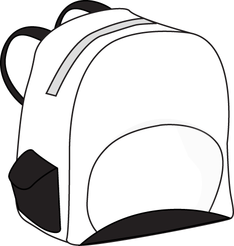 Backpack clipart school item. Black and white panda