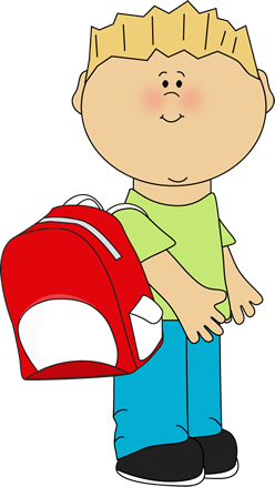Backpack clipart kid backpack. School boy wearing a