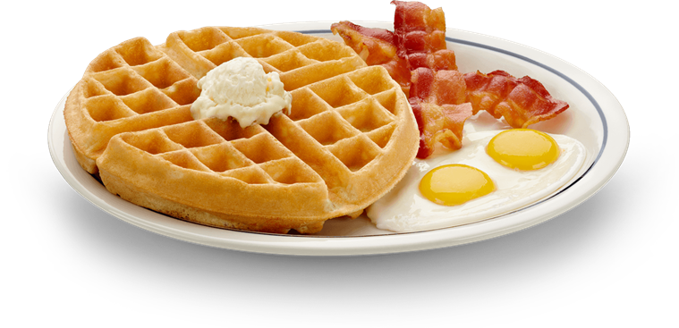 Bacon and eggs on a plate png. Belgian waffle crowned with