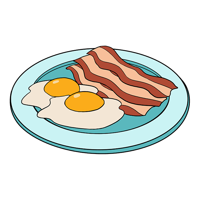 Drawing egg breakfast. How to draw bacon