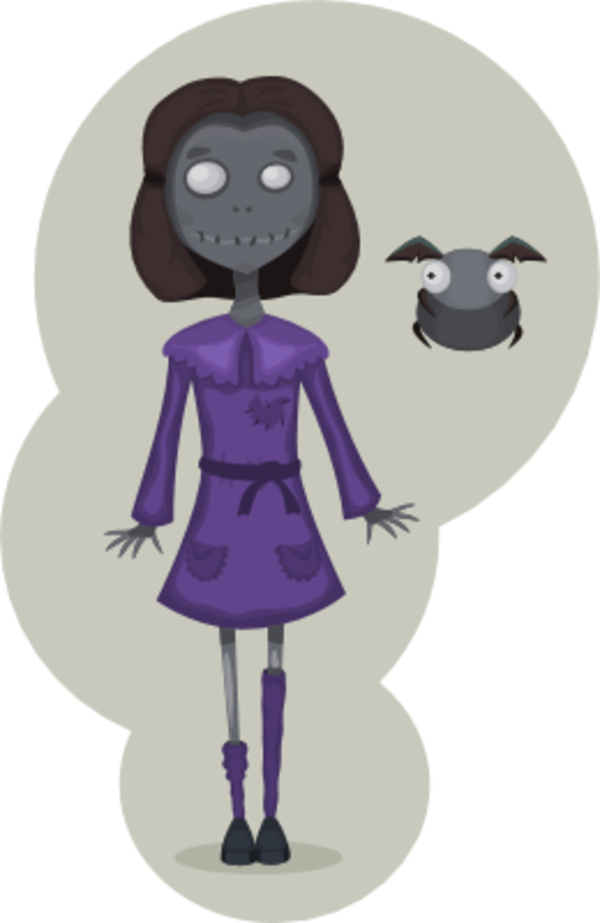 Bad clipart lady. Girl zombie bee scary