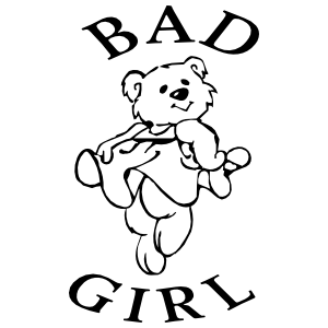 Bad clipart lady. Girl with teddy bear