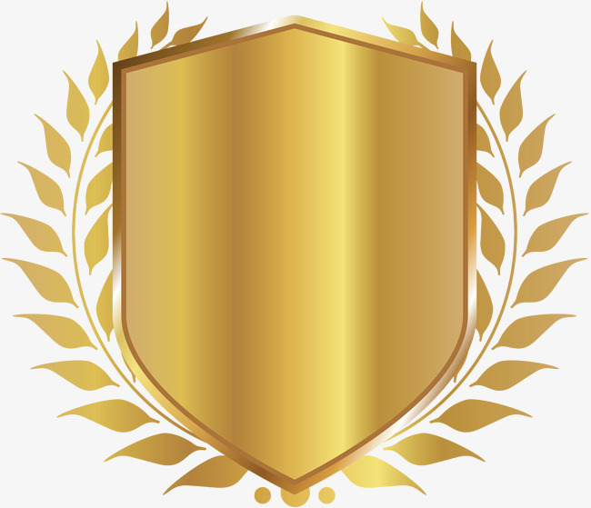Badge clipart. Golden shield fast png