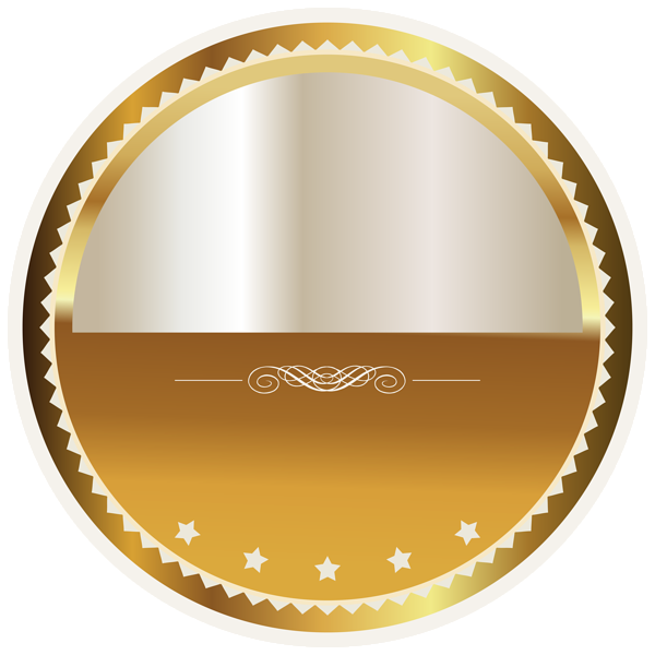 Badge clipart award. Gold and white seal